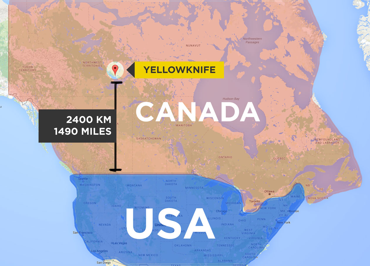 Map of Canada & USA, showing that Yellowknife is 2400km from the USA border
