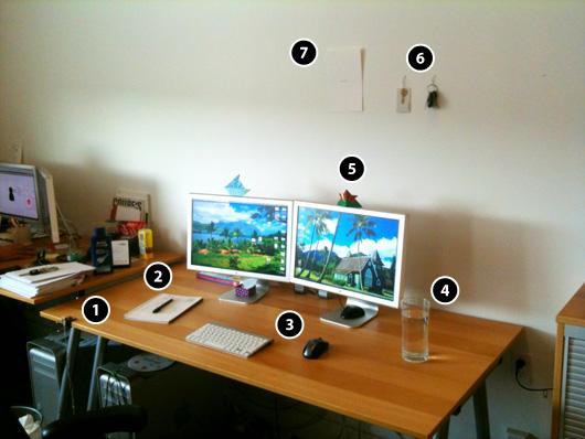 My minimalist workspace, notated