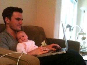 Ayla helping Brad work