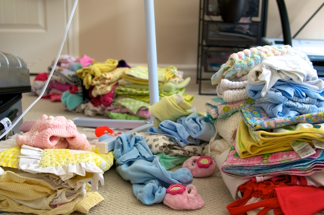 Piles of Baby Clothes
