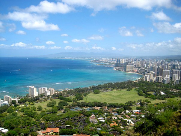The view of Waikiki from the top of Diamond Head