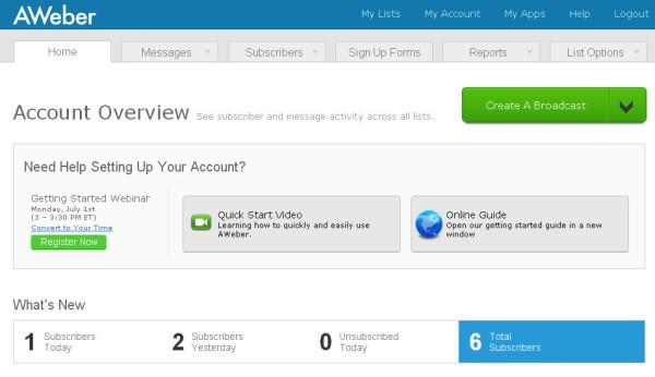 The AWeber User Interface