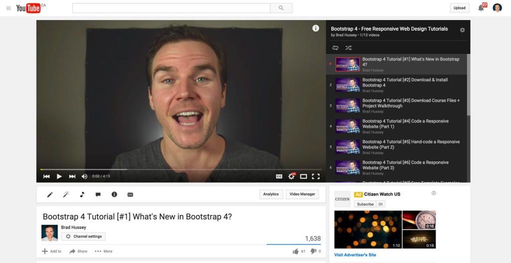 Brad on YouTube