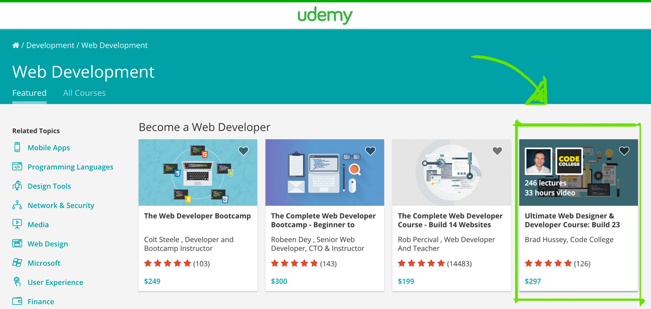 Udemy Top Web Development Courses