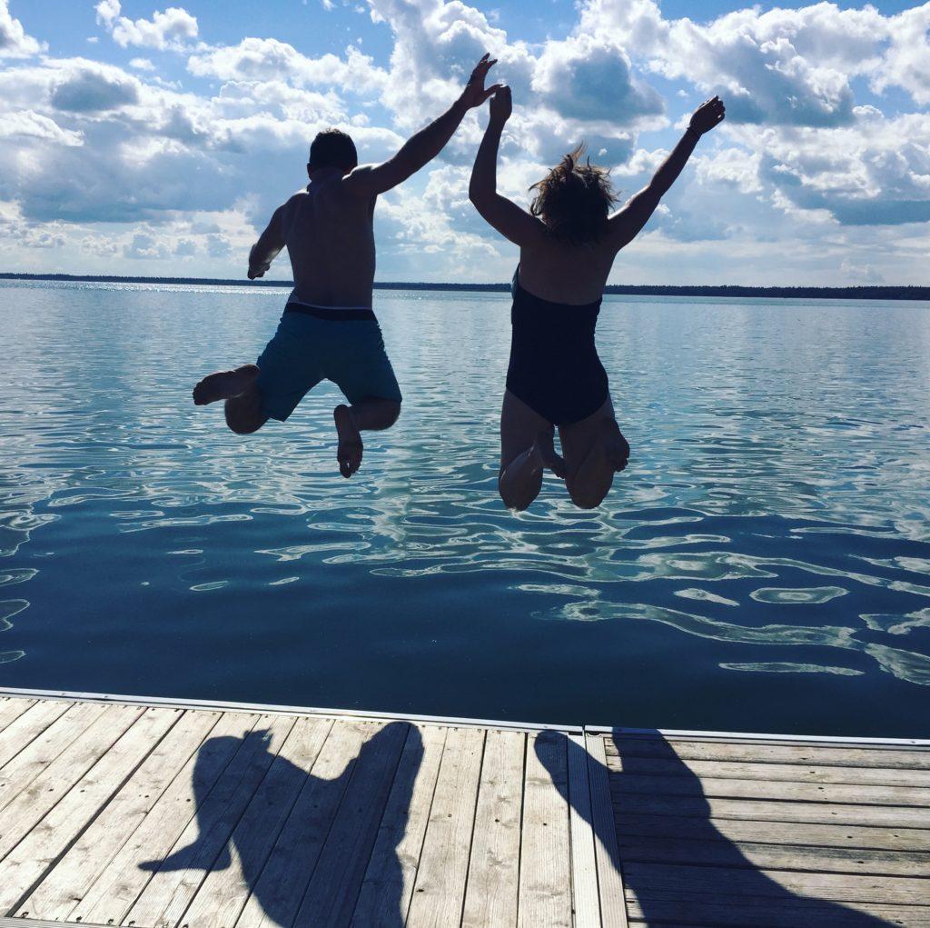Jumping in Brightsand Lake, Saskatchewan